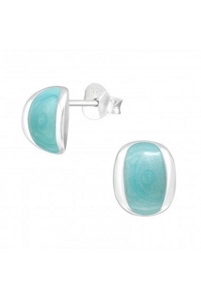 Silver ear studs blue shimmer
