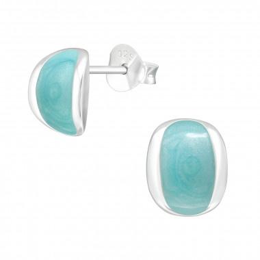 Zilveren oorstekers blauwe glans-1