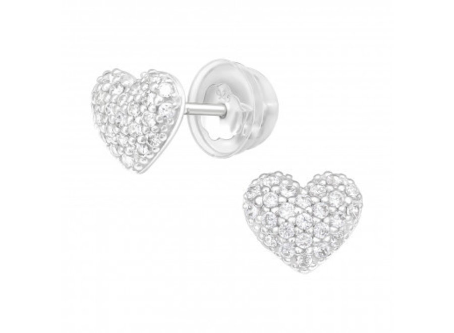 Silver ear studs heart with zirconia stones