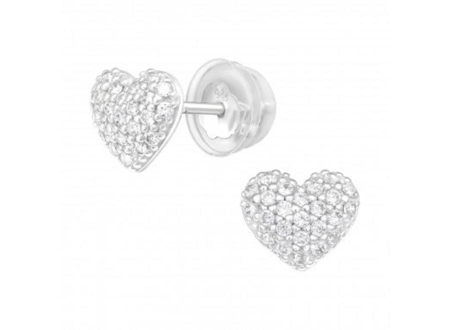 Zilveren oorstekers hart met zirkonia steentjes