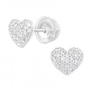 Zilveren oorstekers hart met zirkonia steentjes-1