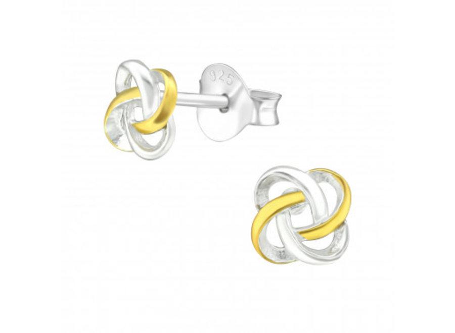 Silver ear studs celtic knot
