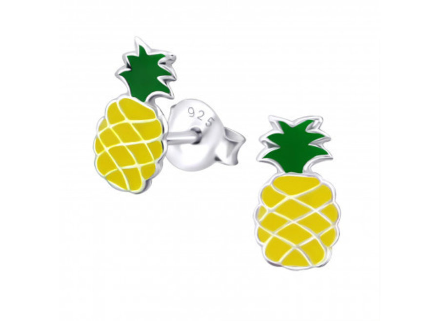 Zilveren oorstekers ananas