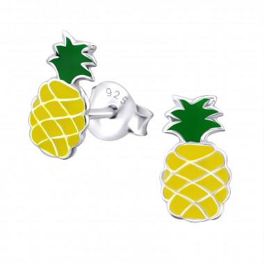 Zilveren oorstekers ananas-1