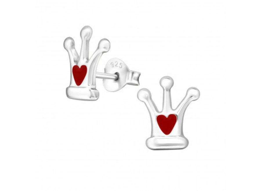 Zilveren oorstekers kroon