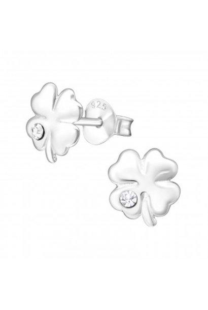 Zilveren oorstekers klavertje vier met kristal-steentje