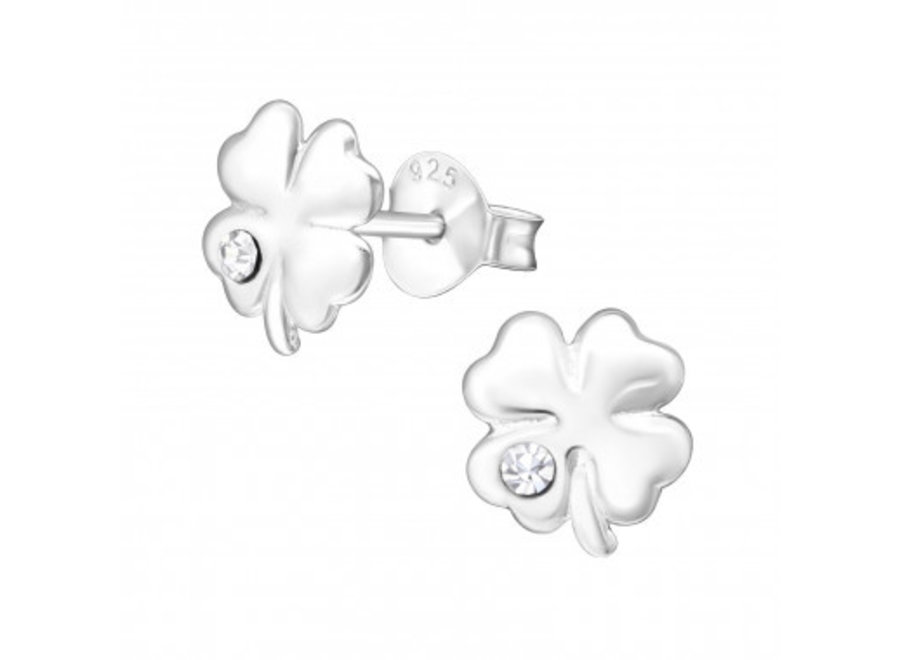 Silver earrings four-leaf clover with crystal stone