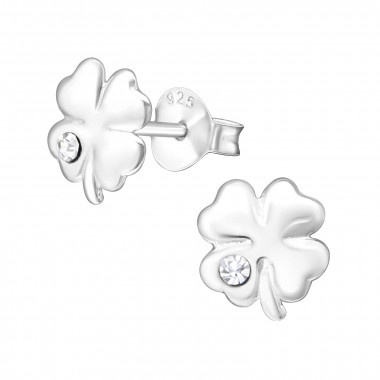 Silver earrings four-leaf clover with crystal stone-1