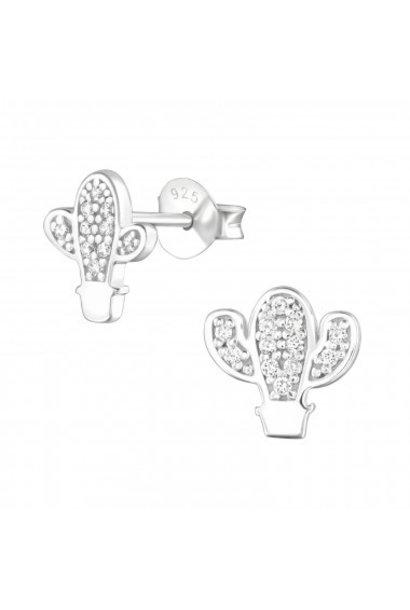 Zilver oorstekers cactus met zirkonia steentjes