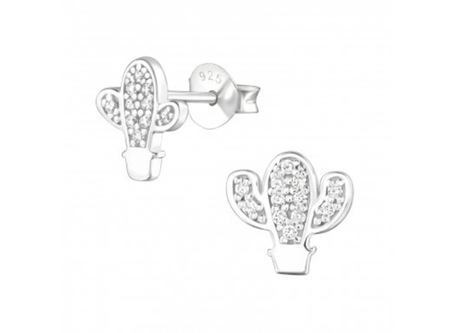 Silver earrings cactus with zirconia stones