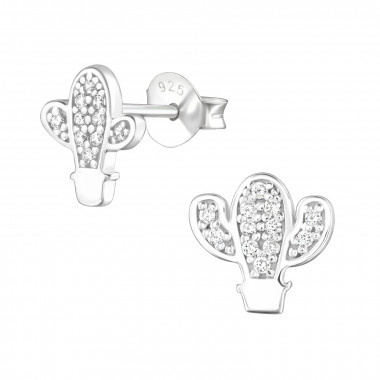 Silver earrings cactus with zirconia stones-1