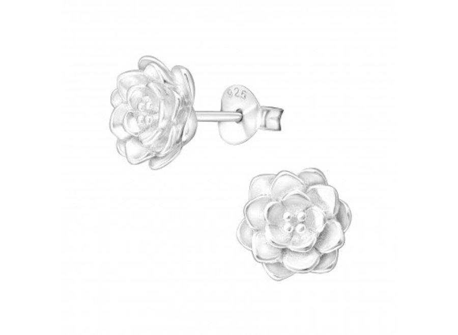 Silver ear studs lotus flower