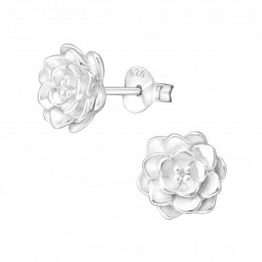 Zilveren oorstekers lotus bloem-1