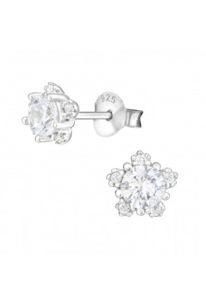 Silver ear studs flower with zirconia stones