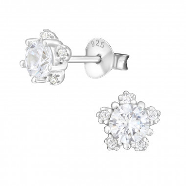 Silver ear studs flower with zirconia stones-1