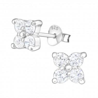 Zilveren oorstekers bloem met zirkonia steentjes-1
