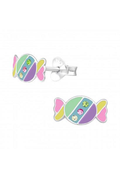 Zilveren oorstekers snoepje met kristal-steentjes