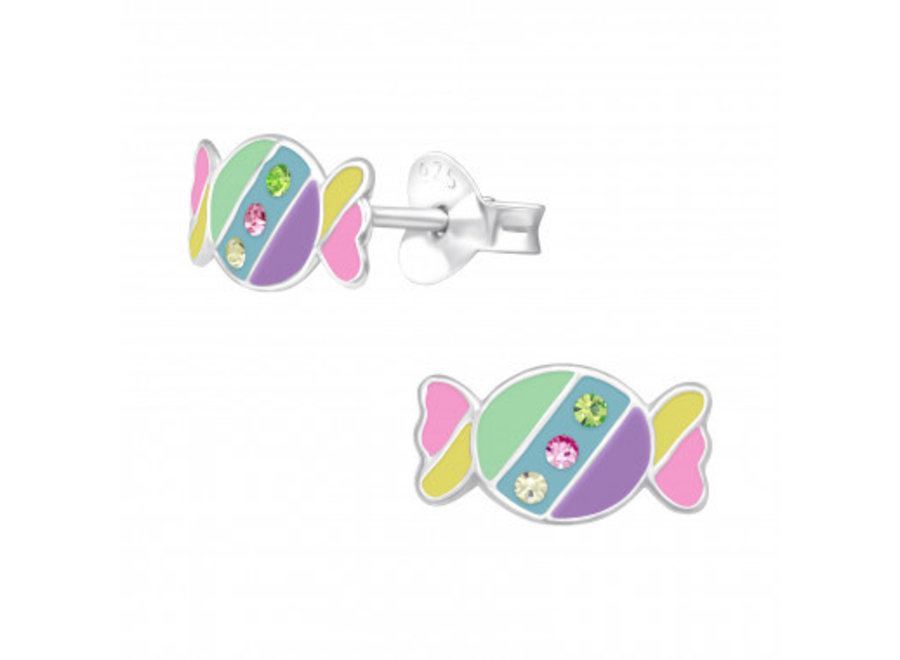 Silver ear studs candy with crystal stones