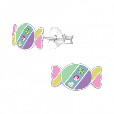 Silver ear studs candy with crystal stones-1