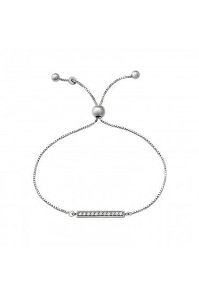 Silver bracelet with inlaid zirconia stones