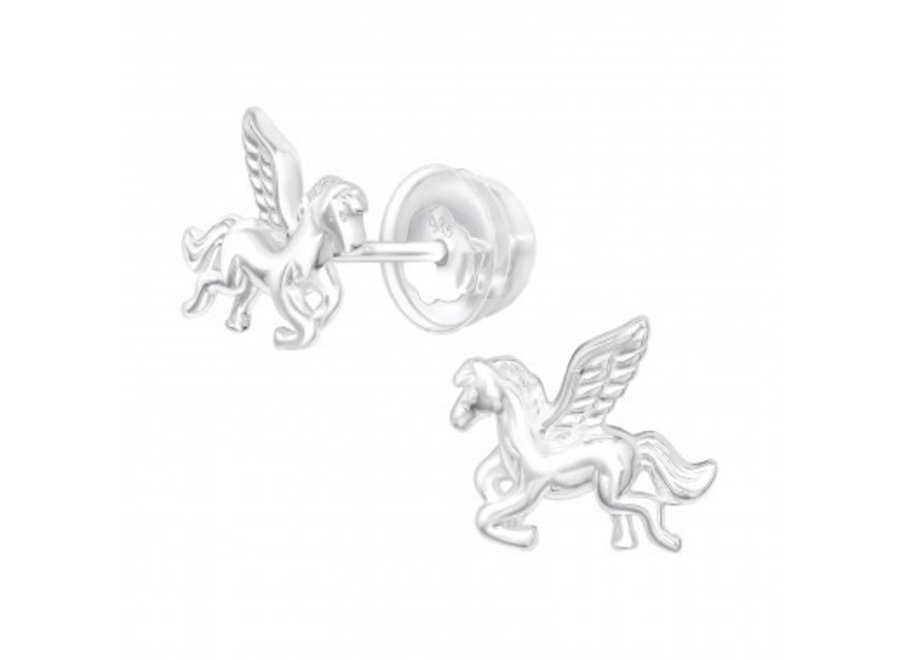 Silver ear studs winged horse