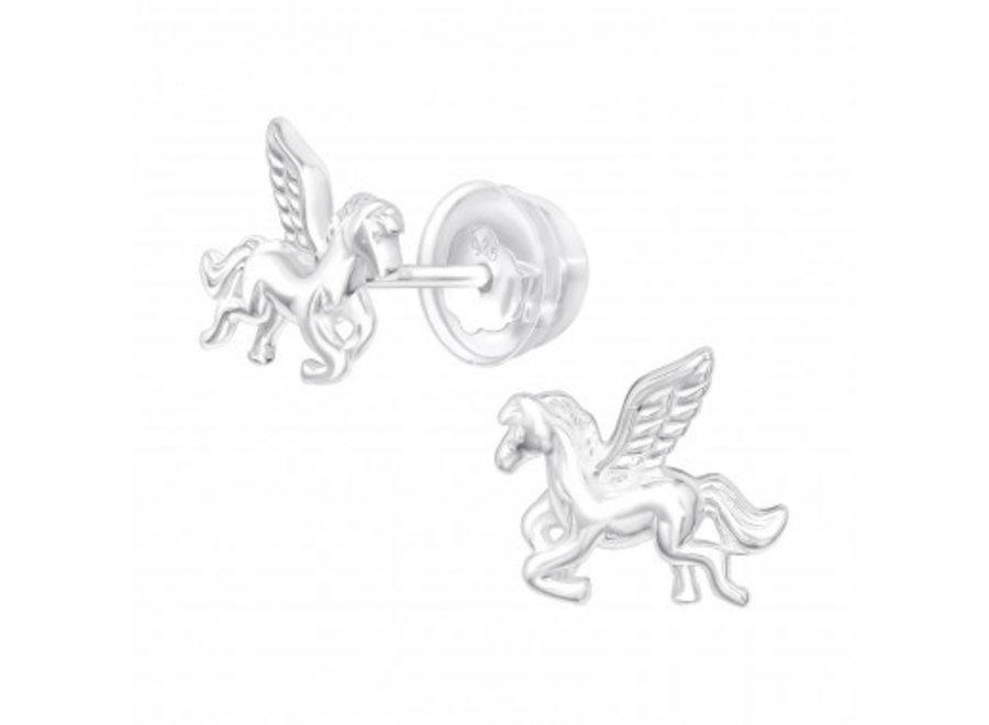Zilveren oorstekers gevleugeld paard