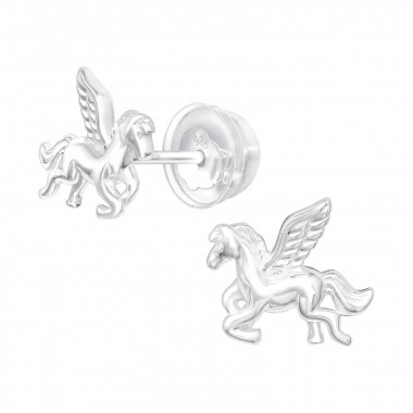 Silver ear studs winged horse-1