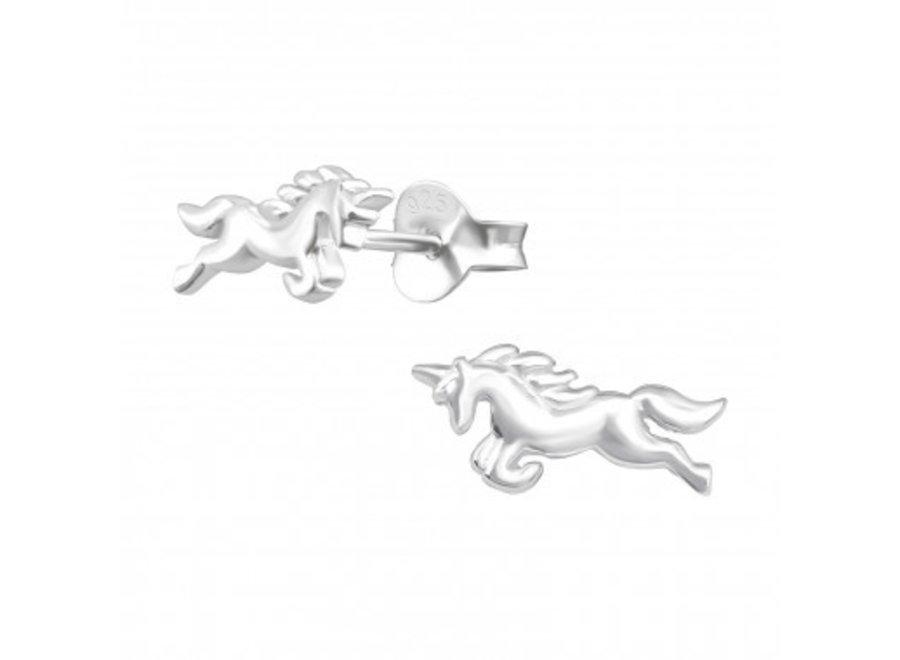 Zilveren oorstekers eenhoorn
