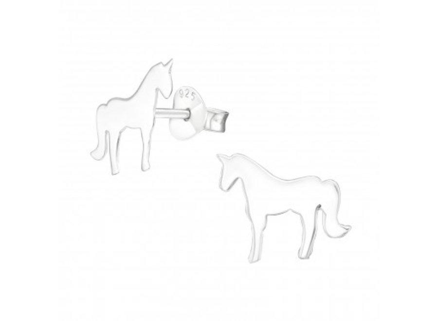 Silver unicorn ear studs