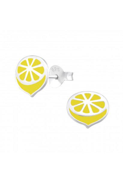 Silver ear studs lemon