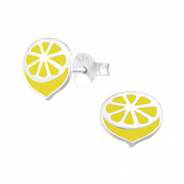Silver ear studs lemon-1