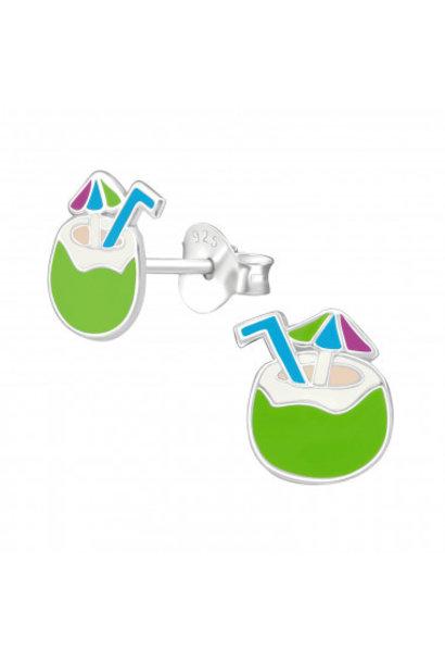 Zilveren oorstekers kokosnoot