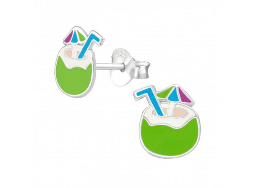 Silver coconut earrings