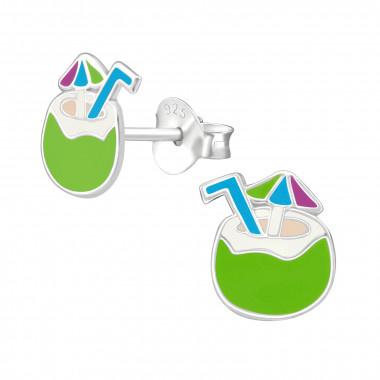 Zilveren oorstekers kokosnoot-1