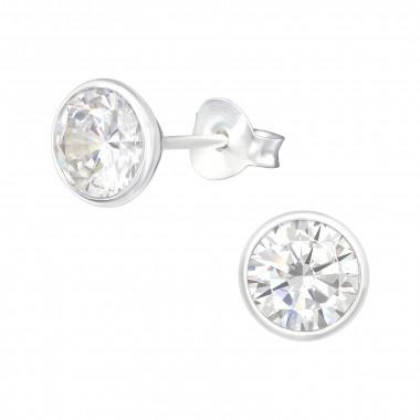 Zilveren oorstekers met zirkonia steentje-1