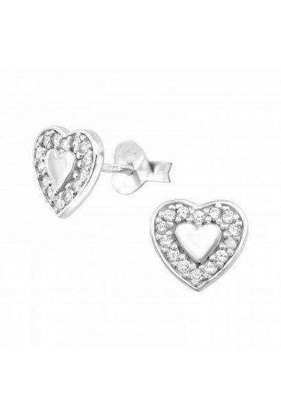 Zilveren oorstekers dubbel hart met zirkonia-steentjes