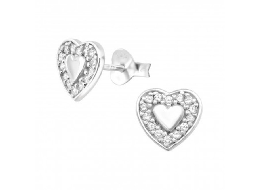 Silver ear studs double heart with zirconia stones