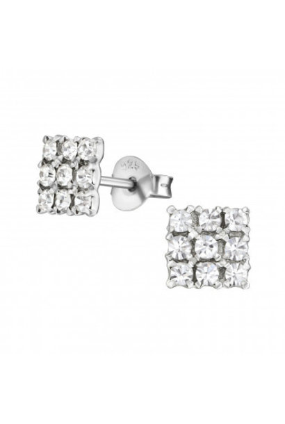 Silver ear studs square with zirconia stones