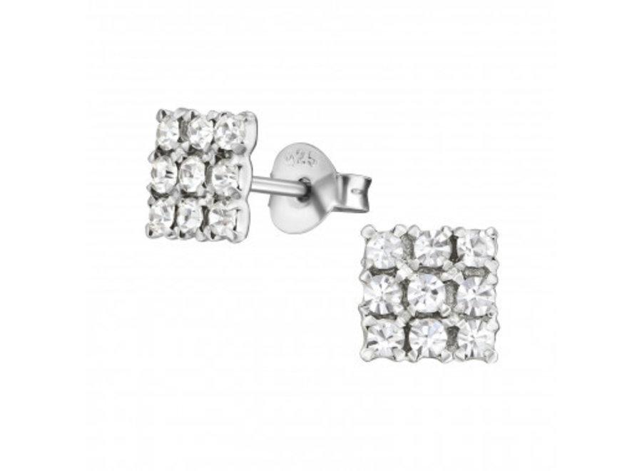 Zilveren oorstekers vierkant met zirkonia-steentjes