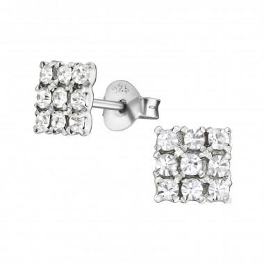 Zilveren oorstekers vierkant met zirkonia-steentjes-1