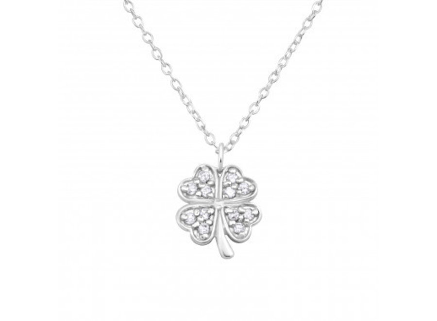 Silver necklace four-leaf clover with zirconia stones