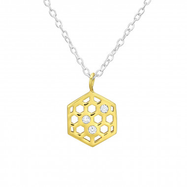 Silver honeycomb necklace-1