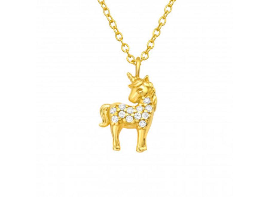 Unicorn necklace with zirconia stones