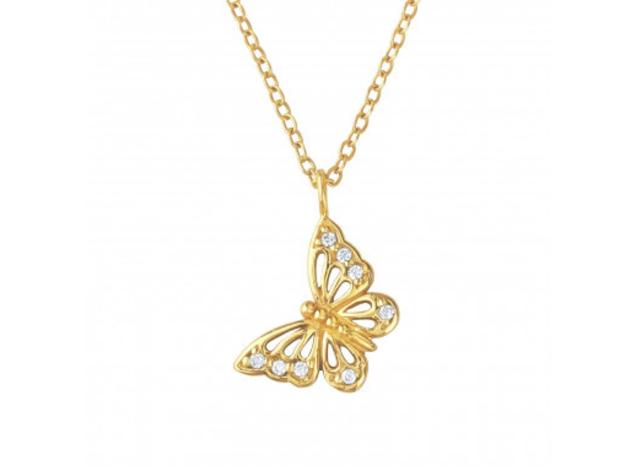 Butterfly necklace with zirconia stones