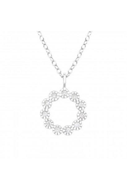 Zilveren ketting bloem met zirkonia-steentjes