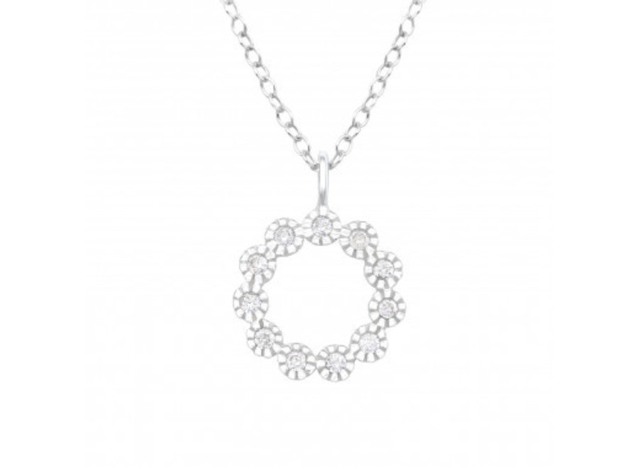 Silver necklace flower with zirconia stones