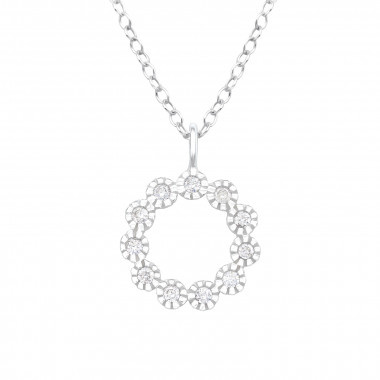 Silver necklace flower with zirconia stones-1