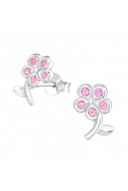 Zilveren oorstekers bloemetje met zirkonia-steentjes
