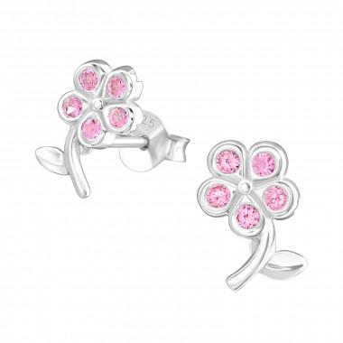 Zilveren oorstekers bloemetje met zirkonia-steentjes-1