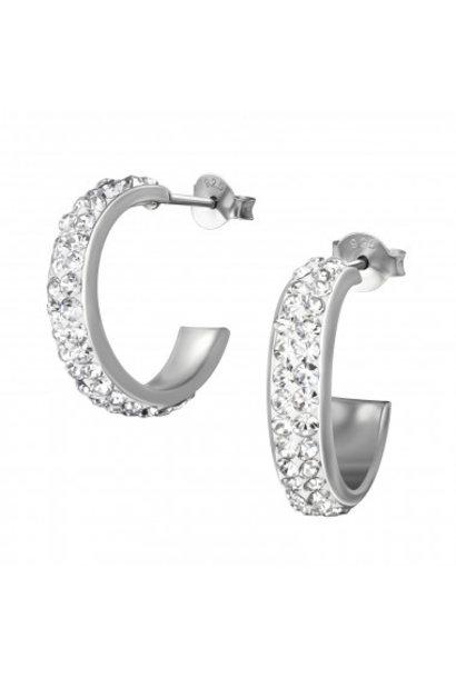 Zilveren oorstekers kristal rhodium plated